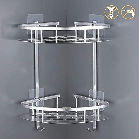 Kes No Drill Bathroom Corner Shower Shelf 2 Tier Aluminum Shower