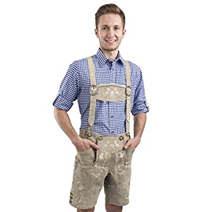 Schöneberger Trachten Couture Men's Bergkristall Bright Antique German Bavarian Lederhosen Oktoberfest Leather Trouser