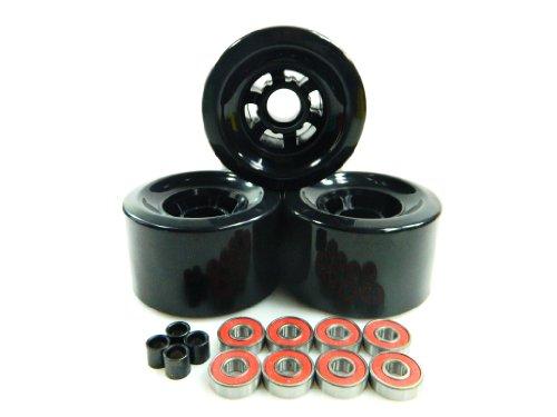 83mm Longboard Flywheels Wheels + ABEC 7 Bearings Spacers (Black)