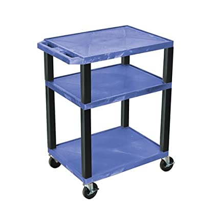Image of Offex Rolling Multi-Purpose 34-Inch Tuffy AV Cart with 3-Storage Shelf, Black Legs and Electric 4-Inch Heavy Duty Casters, Blue (OF-WT34BUE-B) AV Carts & Stands