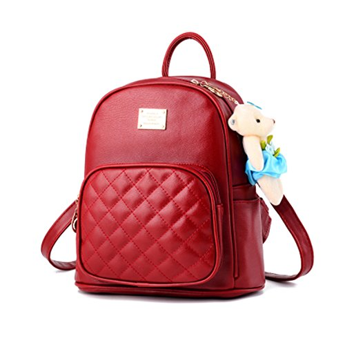 BAG WIZARD Leather Backpack Purse Satchel School Bags Casual Travel Daypacks for - Purse Backpack Red