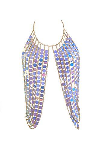 Women's Sexy Harness Waist Bikini Chain Bra Body Chain Shoulder Necklace for Women Color Sequin (Blue) ()