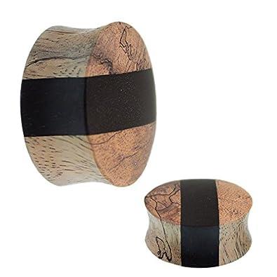 Chic-Net Tribal Wood Plug bright black strip wood hand carved mango wood plug tunnel expander