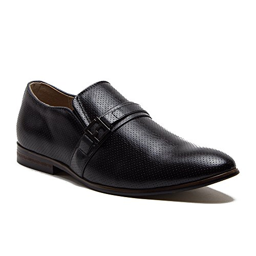 Mens 36982 Perforated Leather Lined Vamp Belt Slip On Dress Loafers Shoes Black gUsGovU