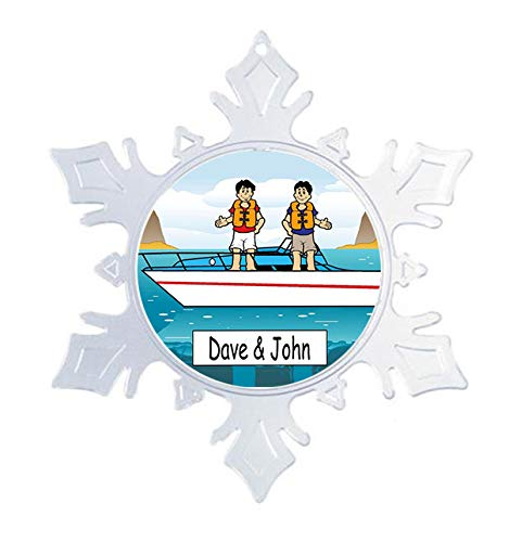 Printed Perfection Personalized Boat Buddies Snow Flake Christmas Ornament Friendly Folks, Gift, Speed Boat, Boating, Water Fun ()