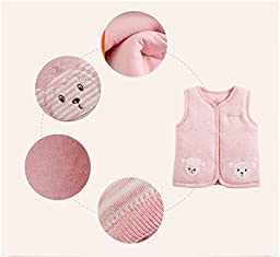 Monvecle Baby Organic Cotton Warm Vests Unisex Infant to Toddler Light Padded Waistcoat Pink Stripe 9-12m