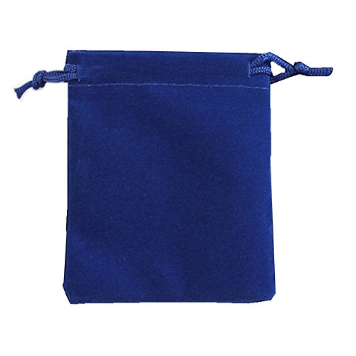 """Ximkee 50 Pieces Wholesale Lot - Black Velvet Cloth Jewelry Pouches / Drawstring Bags 3"""" X 4"""" (50, Blue) from Ximkee"""