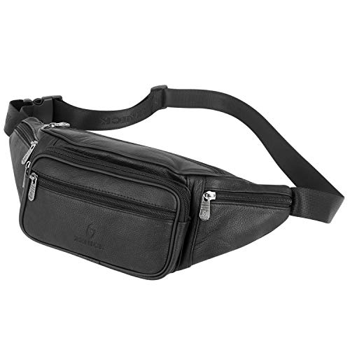 ZZNICK Genuine Leather Fanny Pack for Men and Women, Classic Style Belt Bag, Multifunction Hip Bum Bag Organizer, Travel Wasit Bag with Multiple Pockets