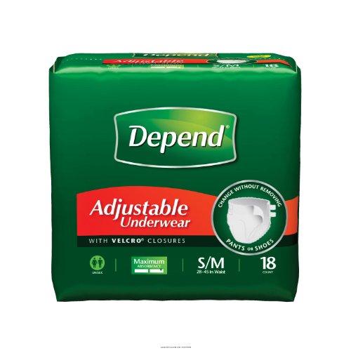 Depend Adjustable Underwear - Depend Adjustable Underwear, Small/Medium, Case/72 (4/18s)