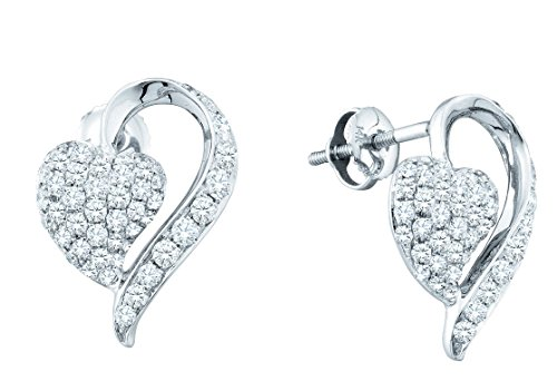 Round Pave Set Heart Earrings (14kt White Gold Womens Round Pave-set Diamond Heart Cluster Earrings 1.00 Cttw (I1-I2 clarity; H-I color))