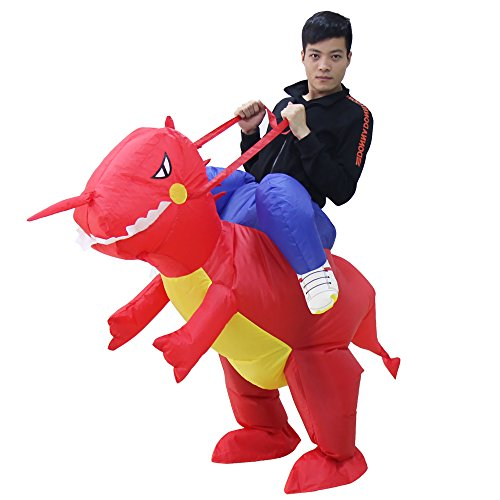 NEWBEA Costume Inflatable Costumes Inflatable Ride Me Adult Carry On Animal Fancy Dress Costume (Red (Red Dinosaur Costume)