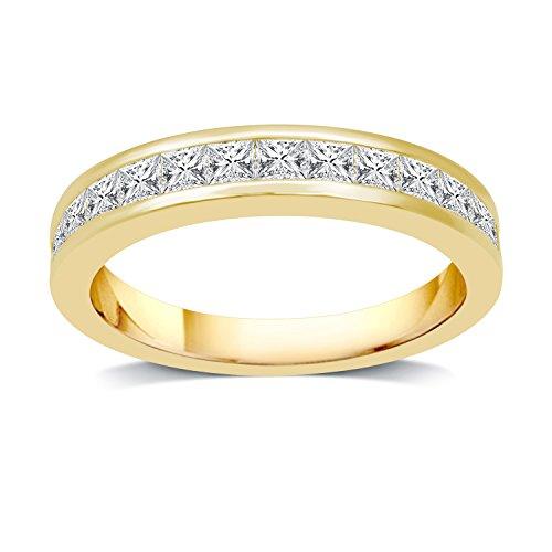 DeCarat 1 CT.T.W. Diamond 10K Yellow Gold Princess Wedding Band Ct Tw Princess Diamonds Band