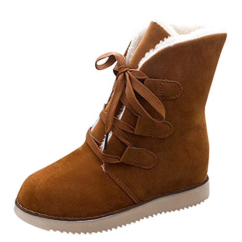 LONGDAY ⭐ Winter Snow Boot for Women Waterproof Anti-Skid House Shoe Ankle Outdoor Warm Fur Bootie Lace Up Insert Heels