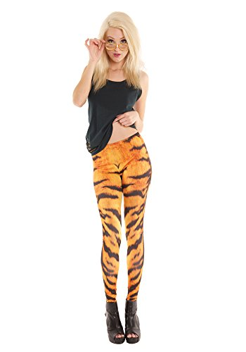 Women's Striped Tiger Print Costume Leggings, Orange & Black - Size Small