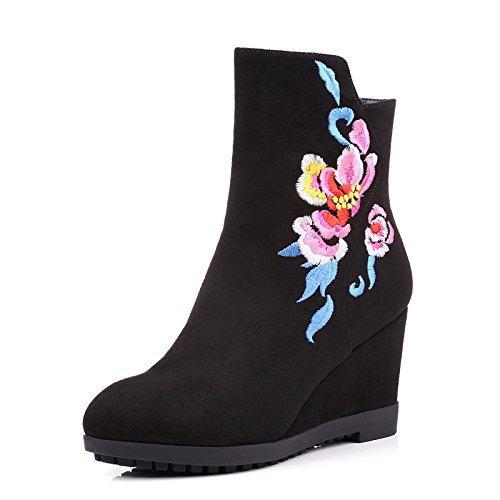 KHSKX-Fall Boots Botas Negro Bordado De Cachemira Aumentado Botas Y Botas Planas Botas Martin Folk StyleTreinta Y CuatroBlack