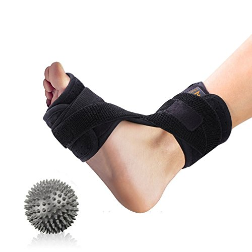 Dorsal Night and Day Splint for Effective Relief from Plantar Fasciitis- Fits Right and Left Foot with Hard Spiky Massage Ball for Men & Women, Comfortable Fit with Easy Adjusting