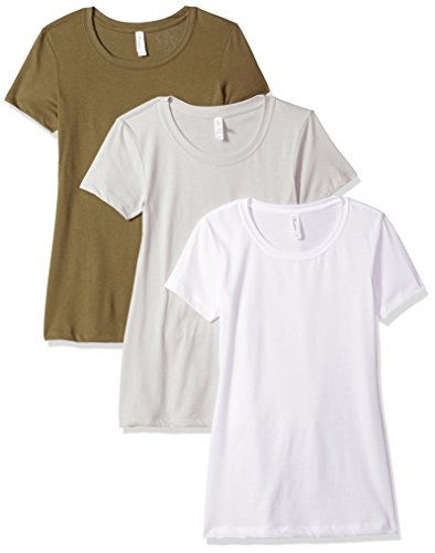 Clementine Apparel Women's Petite Plus Ideal Crew-Neck T-Shirts (Pack of 3), WhiteMilitarySilver, XL
