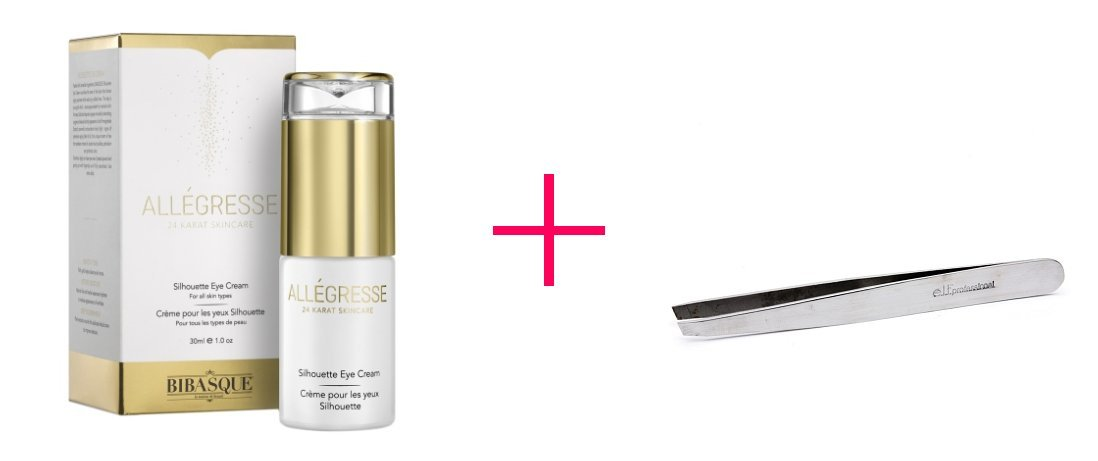 2 of Allegresse 24K Gold Silhouette Eye Cream AND e.l.f. professional Perfect Tweezers - BUNDLE
