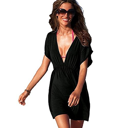 NFASHIONSO Women's V-Shape Cover Up Dress,Black