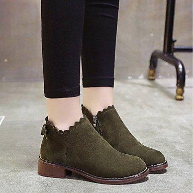 RTRY Women's Shoes PU Fall Comfort Combat Boots Boots Chunky Heel Round Toe Mid-Calf Boots Zipper For Casual Army Green Black US5.5 / EU36 / UK3.5 / CN35 8D6IX