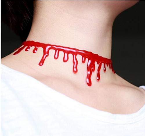 Lessonmart 1 Pcs Halloween Cutting Blood Necklace Jokes