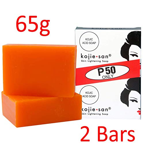 2 Bars Kojie San Kojic Acid Soap 65 Grams per bar Original Skin Bleaching kojic soap for Dark Skin by BEVI (Best Tan Removal Soap)