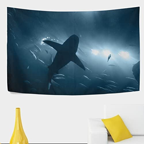 ALAZA One Large Grey Shark Underwater Polyester House Tapestries Room D cor 90×60 Inch Style Decorative Wall Blanket