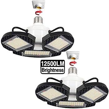 Image of 2Pack LED Garage Lights,100W Deformable LED Garage Ceiling Lights12500 LM CRI 80 Led Shop Lights for Garage, Garage Lights with 3 Adjustable Panels,Led Garage Lighting (No Motion Activated) 100W2PK Home Improvements