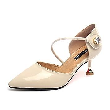 yalanshop Sharp Stiletto Heels - Hebilla con Sandalias de Piel para Gatos y Zapatos Huecos, 1Color, 40: Amazon.es: Deportes y aire libre