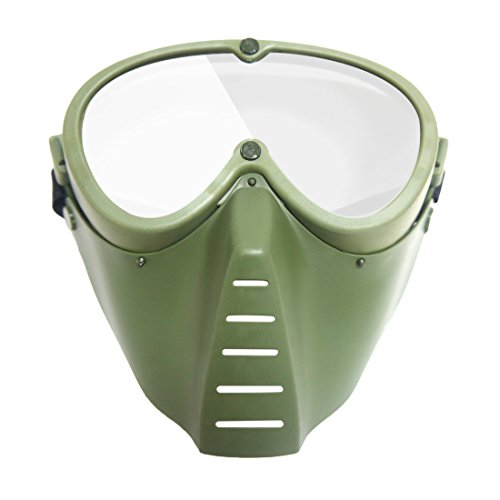 FenglinTech Tactical Protective Mask, Little Bee Shaped Goggles Mask for Nerf CS - - Face Full Green Packing