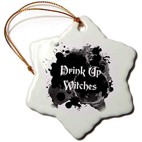 3dRose InspirationzStore - Occasions - Drink Up Witches - Witch Brew Halloween Witchs Potion Black Ink Splat - 3 inch Snowflake Porcelain Ornament (ORN_317318_1) -
