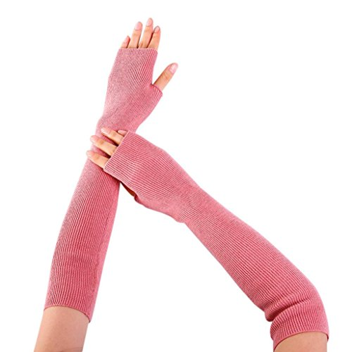 Lady Mittens, HHei_K Fashion Women Arm Warmer Solid Cashmere Knitted Soft Long Fingerless Gloves (Pink, (Cashmere Long Glove)