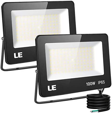 LE 100W Outdoor LED Flood Light 10000lm Super Bright Outside Floodlight Fixture, Waterproof 5000K Daylight White Commercial Security Lighting for Yard,Garden,Driveway,Pool,ParkingArea,Pack of 2