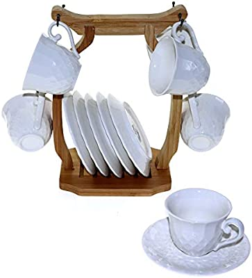 Ceramic Cups And Saucers With Wooden Stand Set Of 12 White 90cc