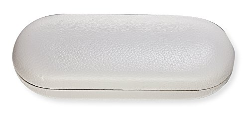 Hard Eyeglass Case For Women & Men, Small To Medium Frames, Faux Leather, White