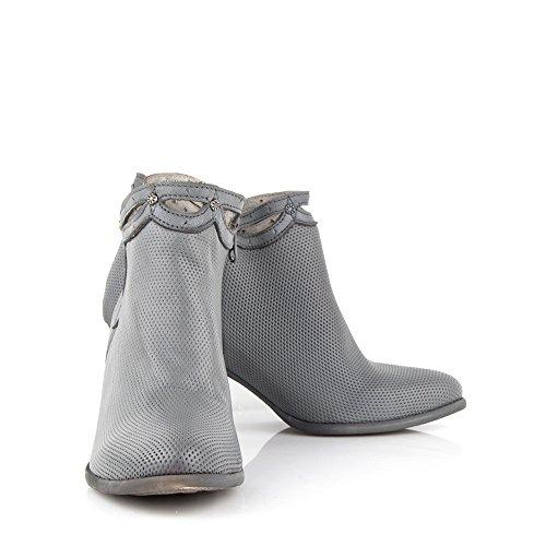 Felmini - Zapatos para Mujer - Enamorarse con Viana 8744 - Botines con Tacón - Genuine Cuero - Gris - 0 EU Size