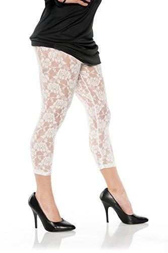 Women's Retro 80's Lace Leggings - White, X-Large