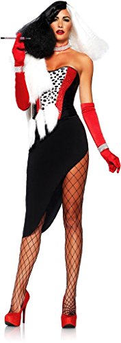 Cruel Diva Adult Womens Costumes (Womens Cruella Deville Outfit Cruel Diva Retro Adult Halloween Party Costume Small)