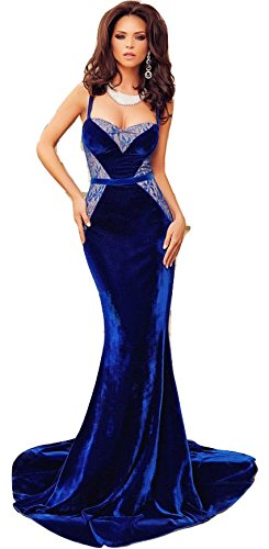 New royal blue velvet & lace Evening dress prom dress cocktail dress party wear gown size