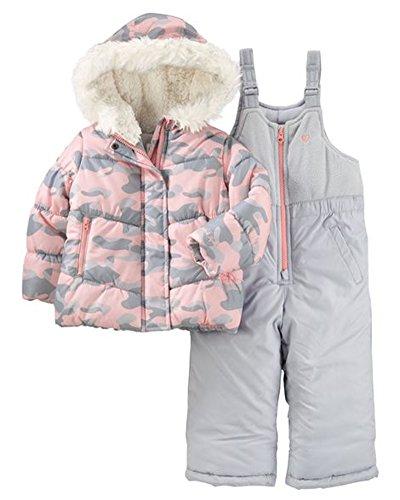 OshKosh B'Gosh Osh Kosh Baby Girls Ski Jacket and Snowbib Snowsuit Outfit Set, Pink Silver Camo, 12M (Outfit Ski)