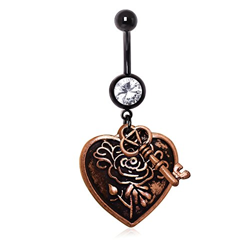 Amelia Fashion 14GA Antique Brass Plated Key & Heart Dangle Belly Button/Navel Ring 316L Surgical Steel (Antique Brass)