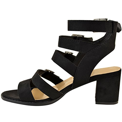 Sandals Heel Shoes Buckle Thirsty Open Block Faux Toe Size Womens Suede Strappy Black Fashion Mid Summer xaUn01I0qw
