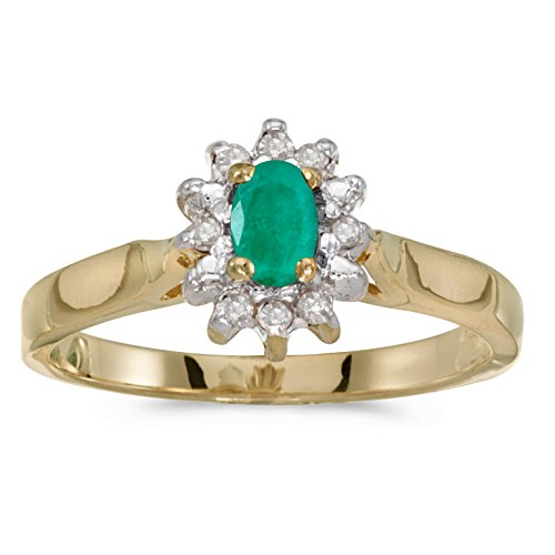 10k Yellow Gold Oval Emerald A