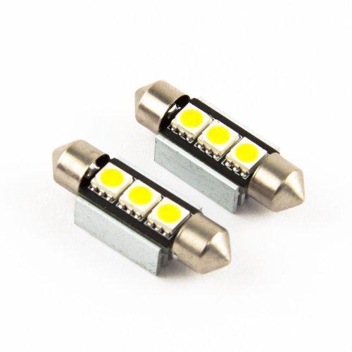 M.Tech 2 x 36mm C5W 3 SMD / LED Soffitte CanBus Kennzeichenbeleuchtung Xenon Weiss Kennzeichenlicht Nummernschildbeleuchtung 36 mm 3SMD PREMIUM QUALITAET - NEU -