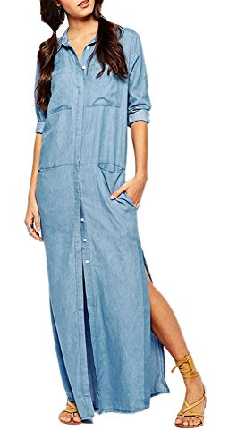 Enlishop Women Casual Long Sleeve Split Denim Long Shirt Maxi Dress With Pockets