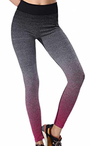 KXP Womens Gym Ombre Stretch Yoga Pants Running Workout Leggings Rose red Medium