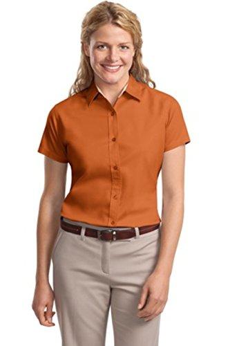 - Port Authority L508 Ladies Short Sleeve Easy Care Shirt - Texas Orange/Light Stone - Small