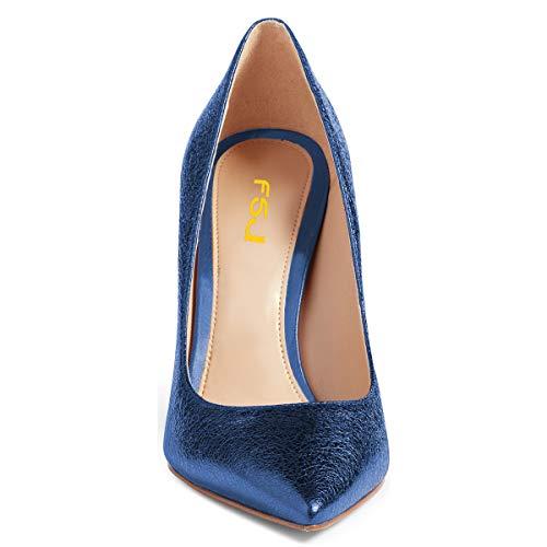Pumps Dress 15 On 4 Women Party Slip Toe Stiletto Closed US High Heels Basic Blue Shoes Eveneing FSJ Size 7Iwxqnaw