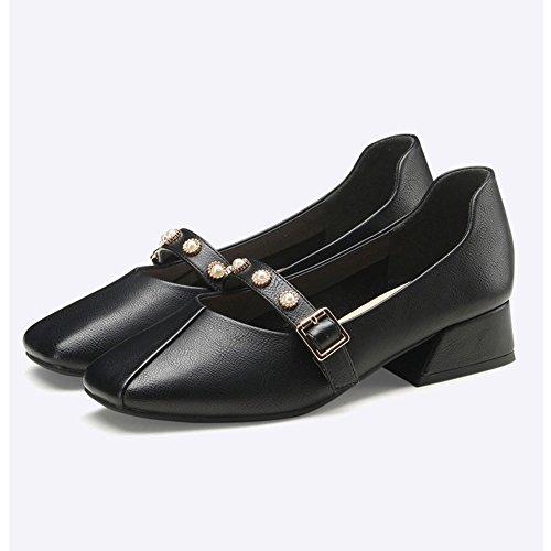XIA&Sportschuhe Retro Square Head Single Schuhe rau mit flachen Mund Lady B