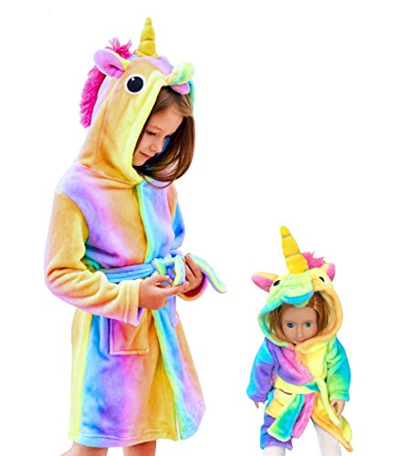Soft Unicorn Hooded Bathrobe Sleepwear - Unicorn Gifts for Girls (10-11 Years, Rainbow with Matching Doll Robe)